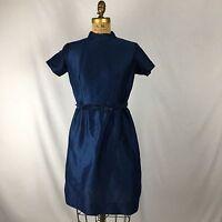 Vtg 60's Dress With Belt Mock Neck Blue Lined Sz L
