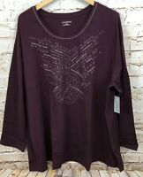 Catherines womens 2X shirt top bling stud new long sleeve sparkle burgundy E6