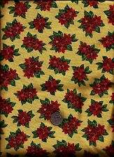 """""""Paper Doll Christmas"""" Print red green on golden tan Fabric by Windham Fabrics"""