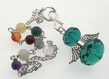 Viridian Green Crystal Angel Charm Pendulum Doswer with Chakra Gemstone Chain