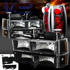 94-98 GMC C10 Suburban Black Headlights Bumper Corner Signal Lights+Tail Lamps