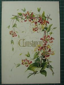 1848 PRINT ~ HONEYSUCKLE - CONSTANCY - FLOWERS AND THEIR KINDRED THOUGHTS