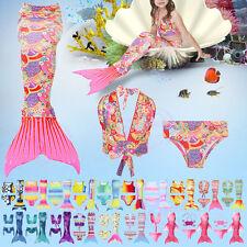 3Pcs Set Beautiful Kids Girls Mermaid Tail Swimmable Bikini Set Swimwear Costume