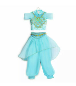 Girls Jasmine Princess Dress Up Fancy Outfit Aladdin Cosplay Costume Party 4-12Y