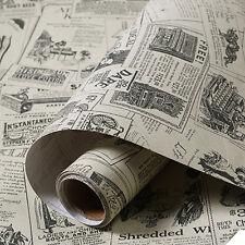Retro Newspaper Pattern Wallpaper PVC Self-adhesive Wall Sticker Decor 60x300CM