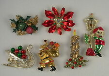 Lot - 6 Vintage Christmas Brooch Pins - St. Labre, Art, Tancer II