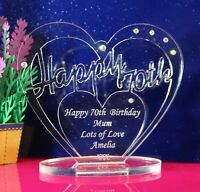 Personalised 70th Birthday Heart Gift  with message -  Free Standing Keepsake