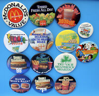 15 Vintage McDonald's Pinback Button Lot - No Doubles - Some From Canada - D