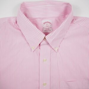 Brooks Brothers Non-Iron Men's 17.5 Pink Striped Button Up Short Sleeve Shirt