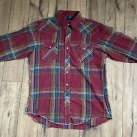 Vintage Wrangler Western Pearl Snap Button Up Long Sleeve Plaid Shirt Mens Large