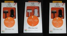 Lot of 3 Brand New Tech & Go 2.1Amp/6ft/ 30 pin Car Charger for iPod/iPhone/iPad