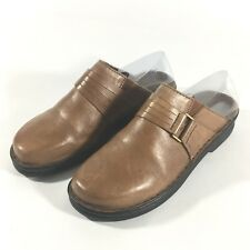 Clarks Womens Size 6 M Mules Brown Slip On Leather Strap Shoes