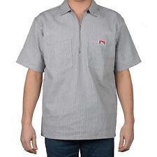 ORIGINAL BEN DAVIS HALF ZIP SLEEVE SHIRT STRIPE HICKORY (Workwear since 1935)