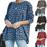 Womens Leopard Long Sleeve Loose Tops Blouse Ladies Casual Tunic T Shirt Autumn