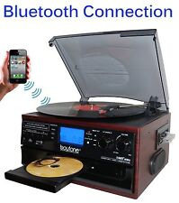 Boytone BT-22C Bluetooth Record Player Turntable AM/FM Cassette speaker NEW