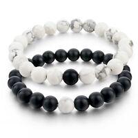 Couples 2 Bracelets Balanced Howlite Matte Black & White Beaded Bracelet Jewelry