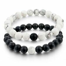 2pcs New Balanced Howlite Matte Black & White Beaded Bracelets for Lovers Couple