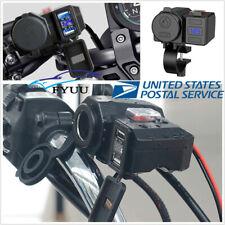 5V 2.1A Motorcycle 2USB Power Socket Charger Blue LED Voltmeter+Switch