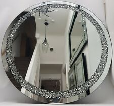 Diamond Crush Diamante Crystal Effect Large Silver Round Wall Mirror Bling 70cm