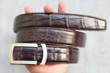 Dark Brown Genuine Alligator, CROCODILE Leather Skin Men's Belt #LT303