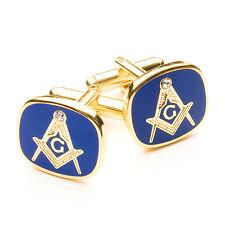 NEW Craft Blue & Gold Masonic G Cufflinks with a white Stone Gift Regalia