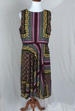 New Dana Buchman Dress Black Yellow Flower Stripes Abstract Design Size 14 #BCC