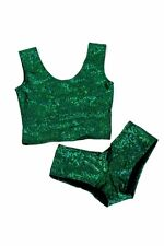 2PC SMALL Green Holographic Crop Top & Cheeky Booty Shorts Set Ready To Ship!