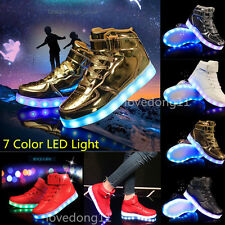 Kids Girls Outdoor LED Light Up Shoes Boy Luminous High top Family Mens Sneakers