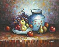 "16""x20"" Oil Painting on Canvas, Fruit Still Life, Genuine Hand Painted"