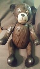 Antique Vintage Wooden Carved Teddy Bear w/ Moveable Arms Legs & Head 17 Inches