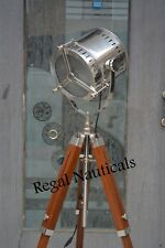 BEAUTIFUL CHROME SEARCH LIGHT SPOT LIGHT FLOOR LAMP WITH TRIPOD STAND