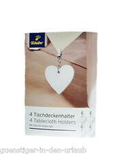 TCM Tchibo 4 x Tischdeckenhalter Clips für Tischdecke aus Edelstahl 18/10 NEU