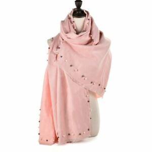 Ladies Scarf Wrap Shawl Pink Warm Cashmere Scarves Plain Pearls Super Soft Long