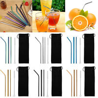 5pcs/Set Reusable Stainless Steel Straight Bent Drinking Straws Clean Brush Home