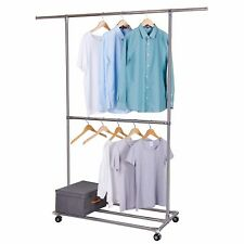 Lifewit Double Rods Garment Rack Rolling Hanging Clothes Racks With Shoe Shelf