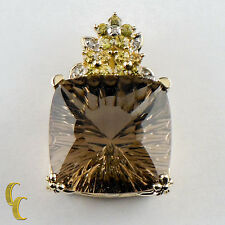 10K Yellow Gold Smoky Quartz Pendant w/ yellow Stone and Diamond Accents Gift