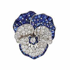 Large Oscar Heyman Platinum Blue Sapphire Diamond Pansy Flower Brooch