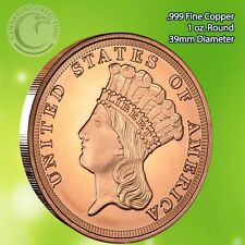 $3 Indian Princess 1 oz .999 Copper Round (Not $3 coin) Limited & Rare