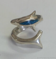 Estate Jewelry Turquoise Dolphin Wrap Ring Sterling Silver Size 7.5