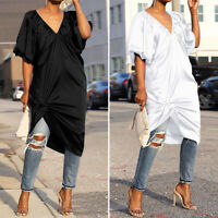 UK Plus Size Womens Half Sleeve Solid Long Top T Shirt Plunging Neck Midi Dress