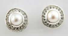 Philip Andre 18K Post back Pearl Sterling Silver Earrings