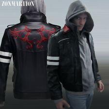 Prototype Alex Mercer Hooded Jacket Dragon Embroidered PU  Cosplay Coat