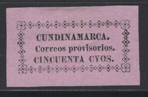 Colombia Cundinamarca 1883 Sc. 14 state provisional issue, 50c black rose MNG