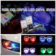 2Pcs RGB LED Bluetooth Demon Eye Light For Car Headlight Projector Lens Retrofit