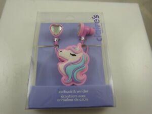 Unicorn pink heart ear bud buds earbuds cord winder