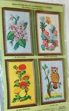 New listing Vintage Crewel Embroidery Kit Wonder Art Stitchery 5X7 Violets Kitsch 5010