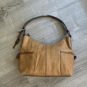 FOSSIL Brown Woven Straw & Leather Hobo Bag Vegan Leather Bag
