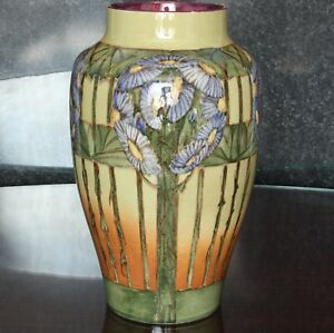 """Doulton Lambeth Aesthetic Movement Faience Vase, 10"""", Margaret M Armstrong"""