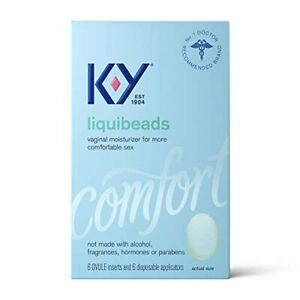 Personal Lubricant, K-Y Liquibeads Vaginal Moisturizer, 6 Bead Inserts and 6 App