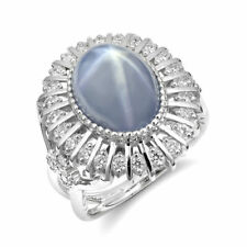 Natural Gray-Blue Star Sapphire 10.06 carats set in 14K White Gold Ring